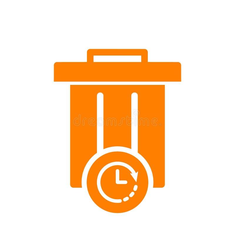 Śmieciarska ikona, ikona z zegarem, narzędzi i naczyń podpisujemy Śmieciarska ikona i odliczanie, ostateczny termin, rozkład, pla ilustracja wektor