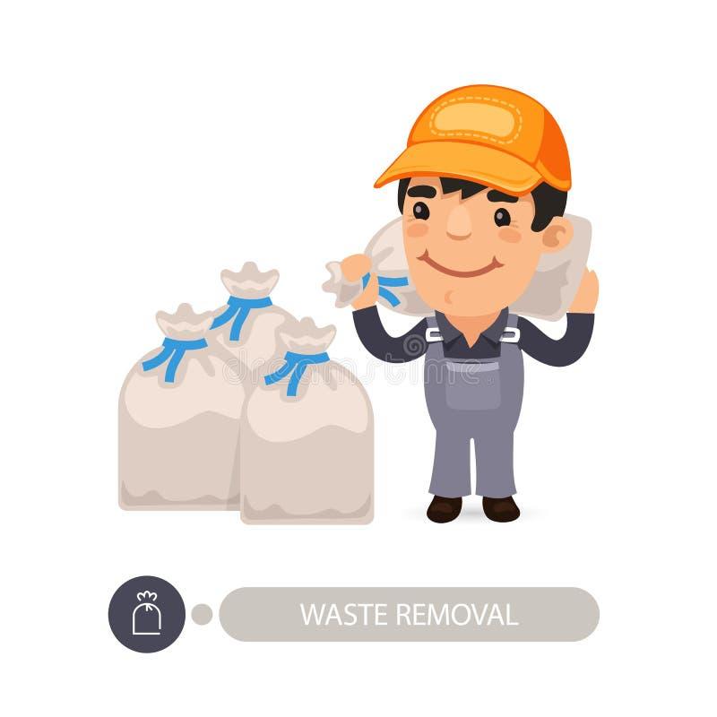 Śmieciarska pracownika przewożenia banialuk torba ilustracji