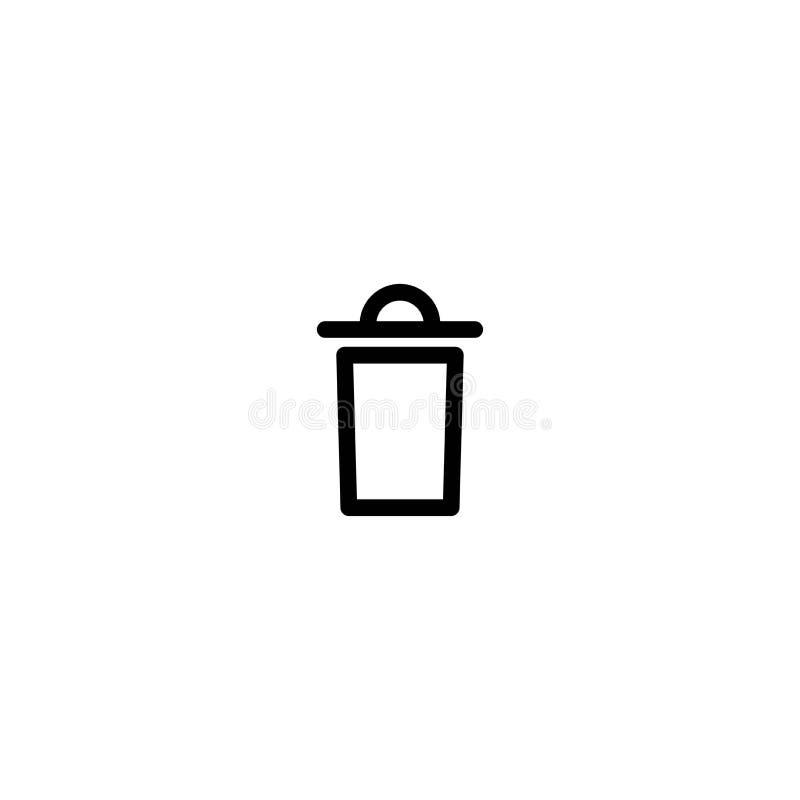 Śmieciarski kosz, kubeł na śmieci, wastebasket kreskowa ikona Czysty, deleatur guzik odpady royalty ilustracja