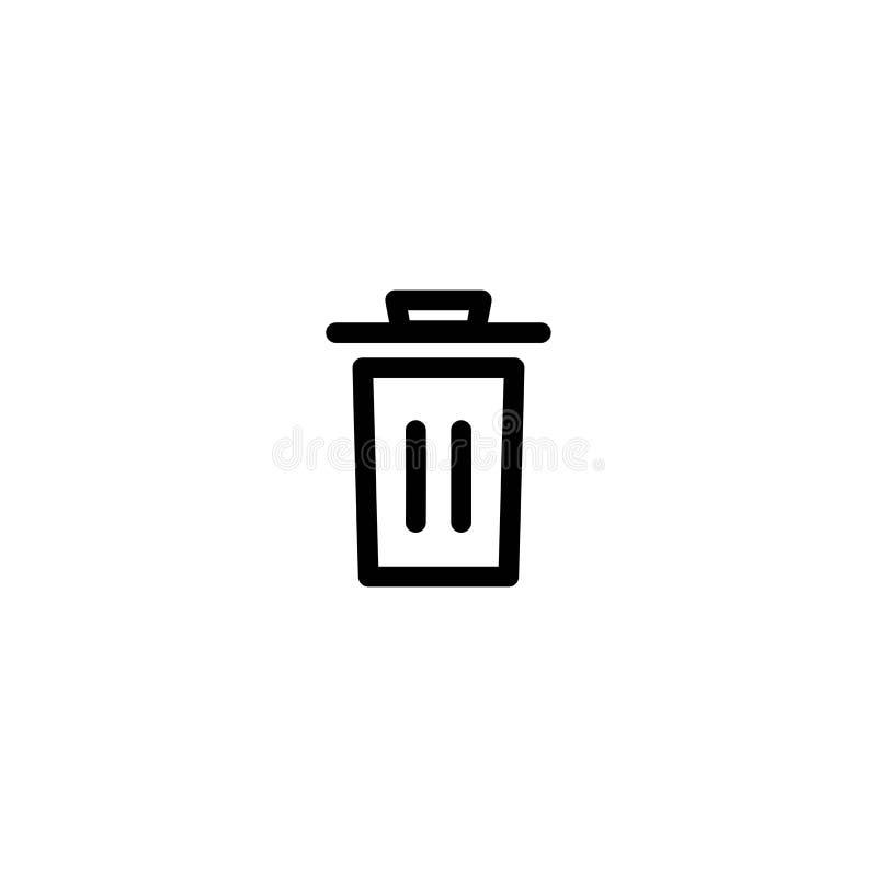 Śmieciarski kosz, kubeł na śmieci, wastebasket kreskowa ikona Czysty, deleatur guzik odpady ilustracji