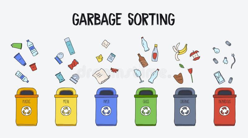 Śmieciarski Sortuje pojęcie Kubeł na śmieci z różnymi typ śmieci Kolorowa ręka rysująca doodle ilustracja ilustracji