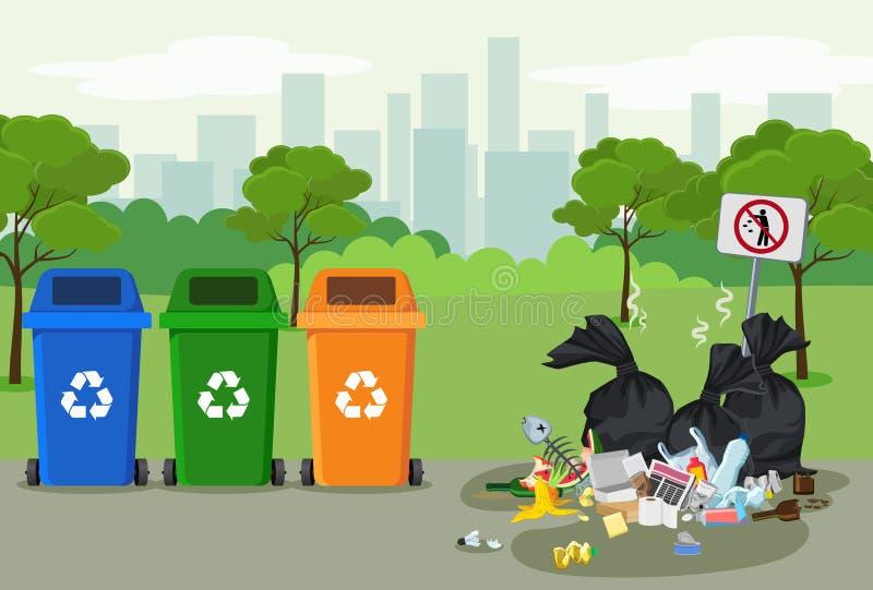 Śmieciarski usyp w parku z banialuka koszem dla przetwarzać blisko go Różni typ odpady Środowiskowy konserwacja wektor royalty ilustracja