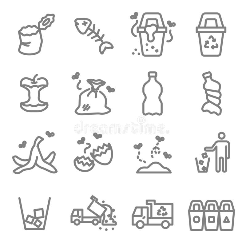 Śmieciarski wektor linii ikony set Zawiera taki ikony jak Bananową łupę, Fishbone, Eggshell, grat i więcej, Rozprężony uderzenie ilustracja wektor