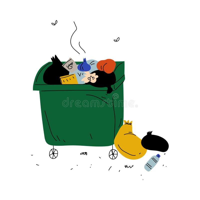 Śmieciarski zbiornik Pełno Zbutwiałe banialuki, Jałowy przerób i spożytkowanie, Ekologiczna Problemowa Wektorowa ilustracja royalty ilustracja