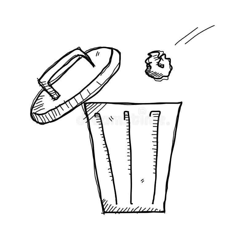 Śmieciarskiego kosza Doodle ilustracji