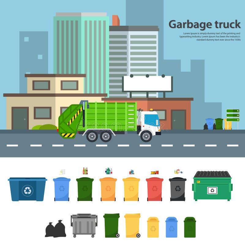 Śmieciarskiej ciężarówki wektorowe płaskie ilustracje royalty ilustracja