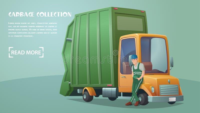Śmieciarskiej kolekci usługa Pracownik usługowa Śmieciarska kolekcja Retro Śmieciarska ciężarówka ilustracja wektor