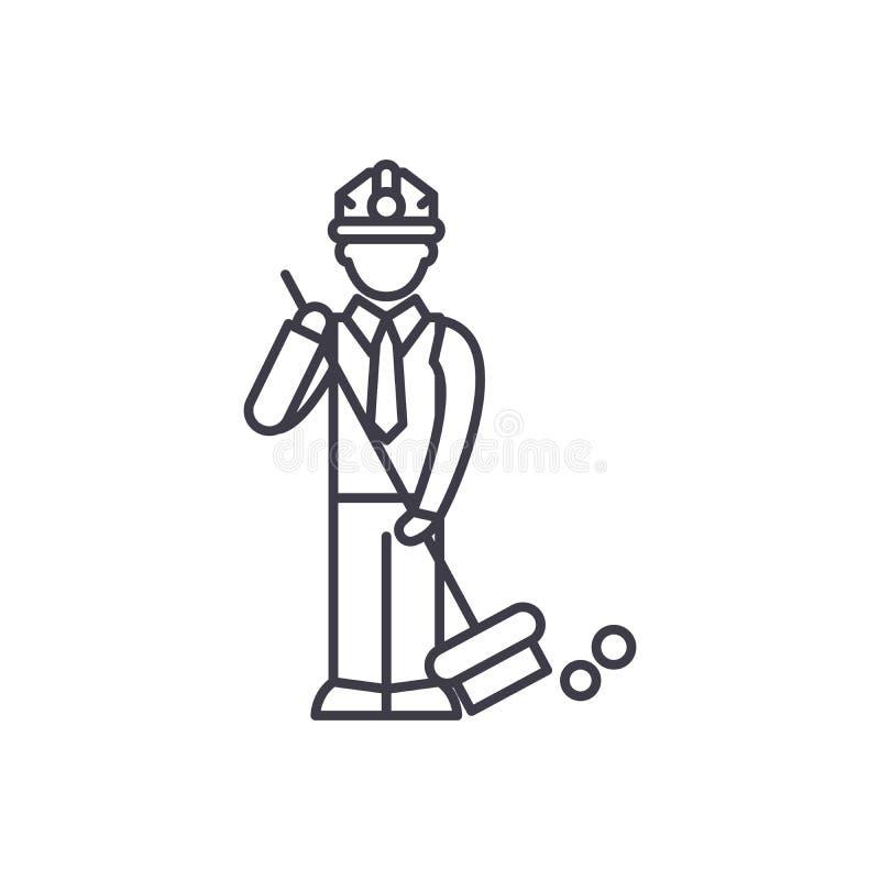 Śmieciarskiej kolekcji linii ikony pojęcie Śmieciarskiej kolekcji wektorowa liniowa ilustracja, symbol, znak ilustracji