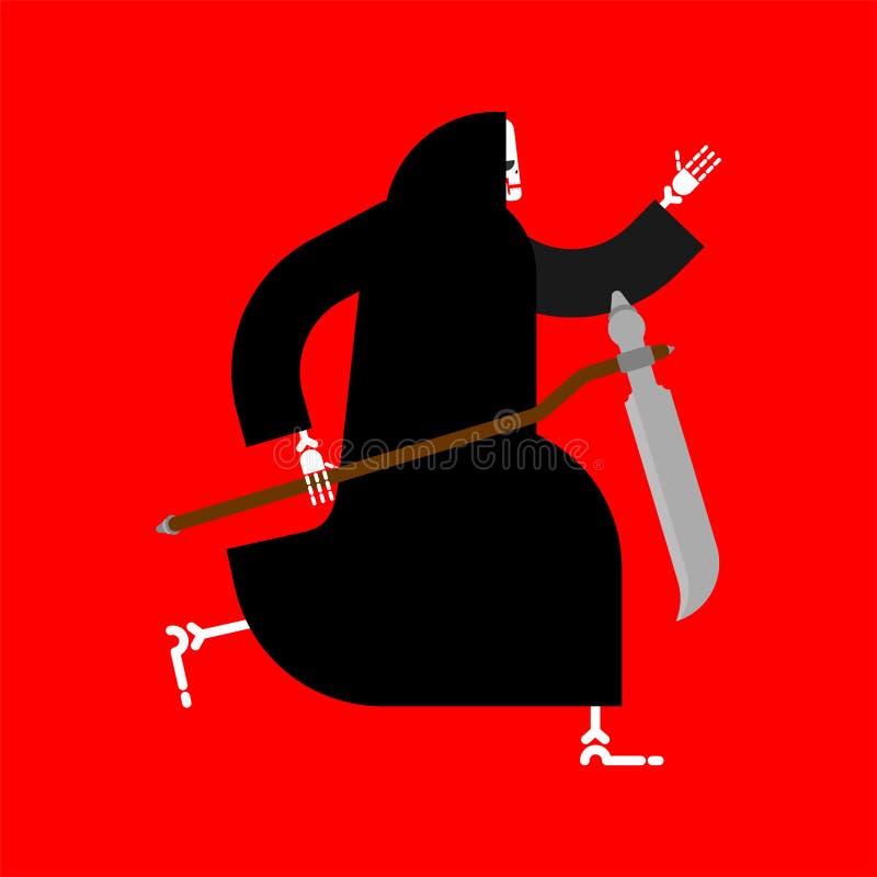 Śmierć biegająca odizolowywającą ponura żniwiarka biega ilustracji