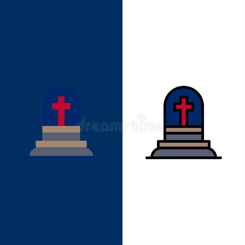 Śmierć, grób, kamień zbożowy, ikony zgrabienia Ikona z wypełnieniem płaskim i liniowym ustawia niebieskie tło wektorowe ilustracji