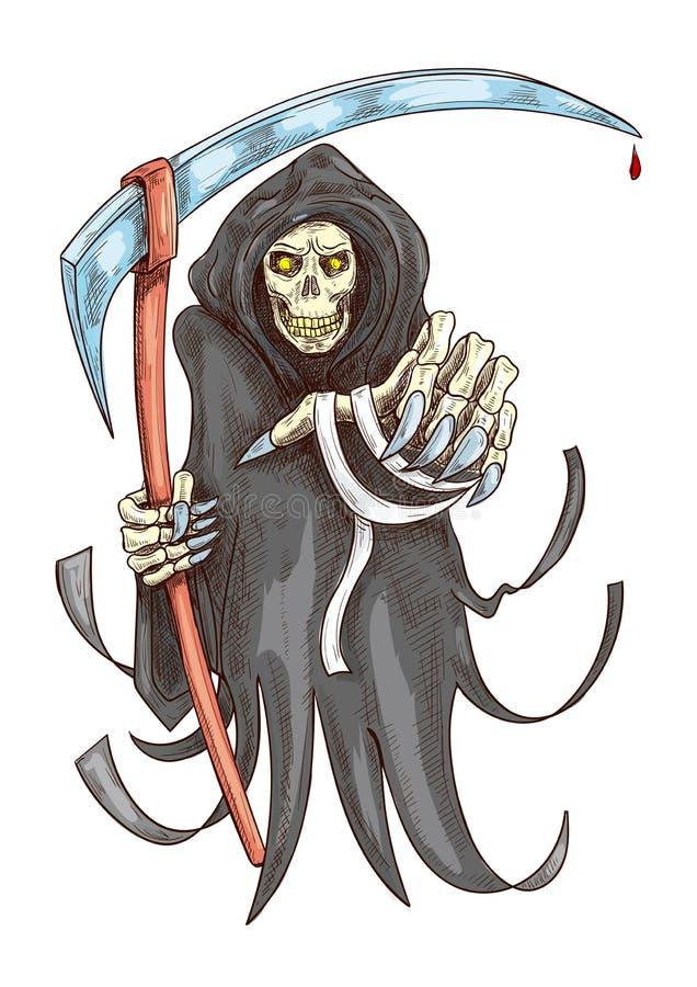 Śmiertelna żniwiarka z kosą halloween odizolowywał symbolu biel royalty ilustracja