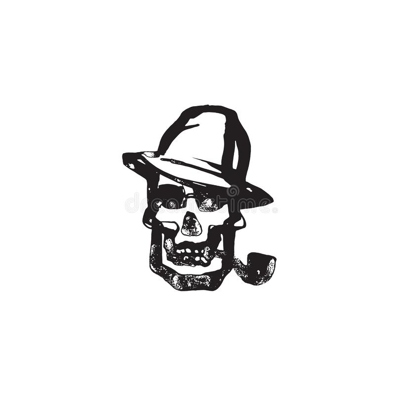 Śmiertelna głowa z drymbą i kapeluszem, ręka rysująca ludzka czaszki dymienia drymba, czarny i biały wektorowa ilustracja odizolo royalty ilustracja