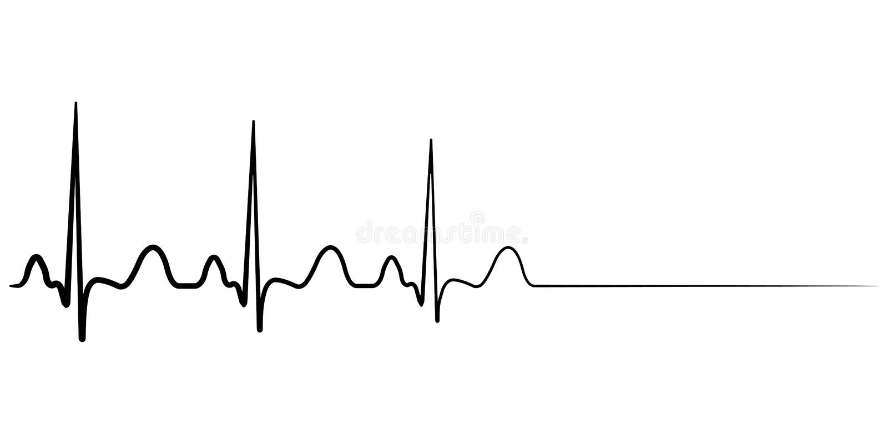 Śmiertelna ikona, sercowy areszt, wektorowy cardio kardiogram, pojęcie kondolencje royalty ilustracja