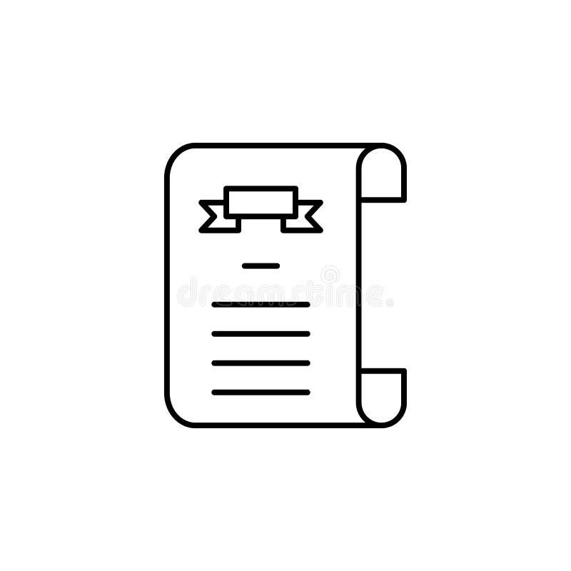śmiertelnego świadectwa konturu ikona szczegółowy set śmiertelne ilustracji ikony Mo?e u?ywa? dla sieci, logo, mobilny app, UI, U royalty ilustracja