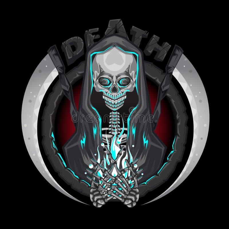 Śmiertelni zredukowani Ponurej żniwiarki charaktery z kosa emblemata loga mienia istoty ludzkiej duszą ilustracja wektor