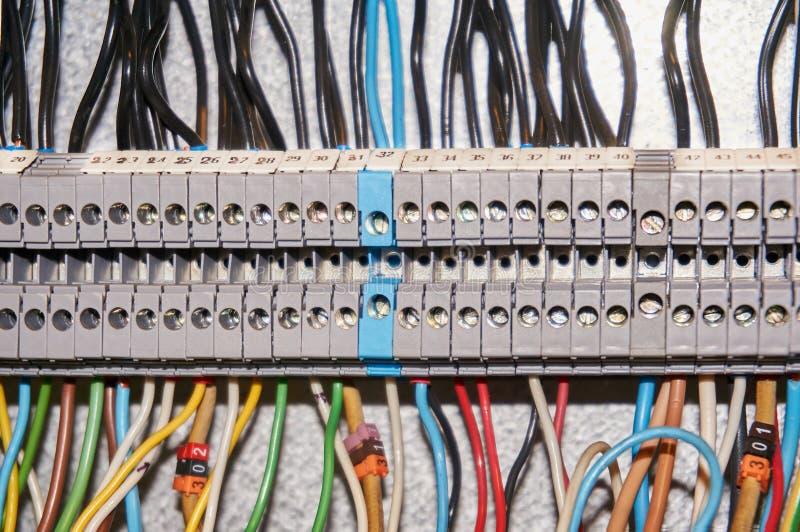 Śmiertelnie bloki dla elektrycznych podłączeniowych i uziemiają terminali dla gruntować w kontrolnej kabince przemysłowe tło obraz royalty free