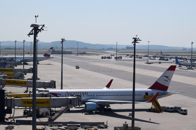 Śmiertelnie cętkowanie przy Wiedeń lotniskiem z Austrian Airlines Boeing 767-300er i Boeing 777-200lr przy bramą zdjęcie royalty free