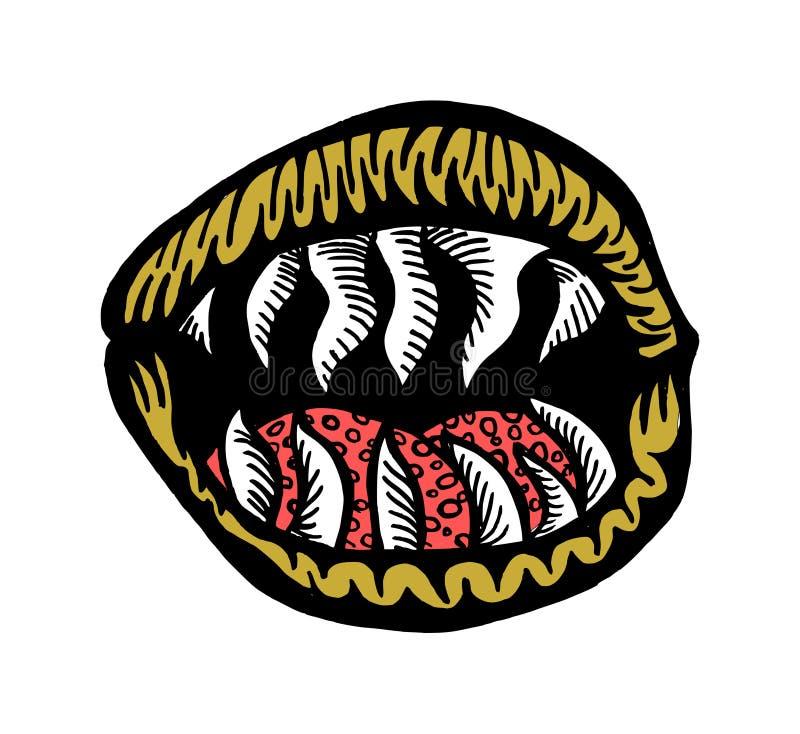 Śmiertelny usta royalty ilustracja