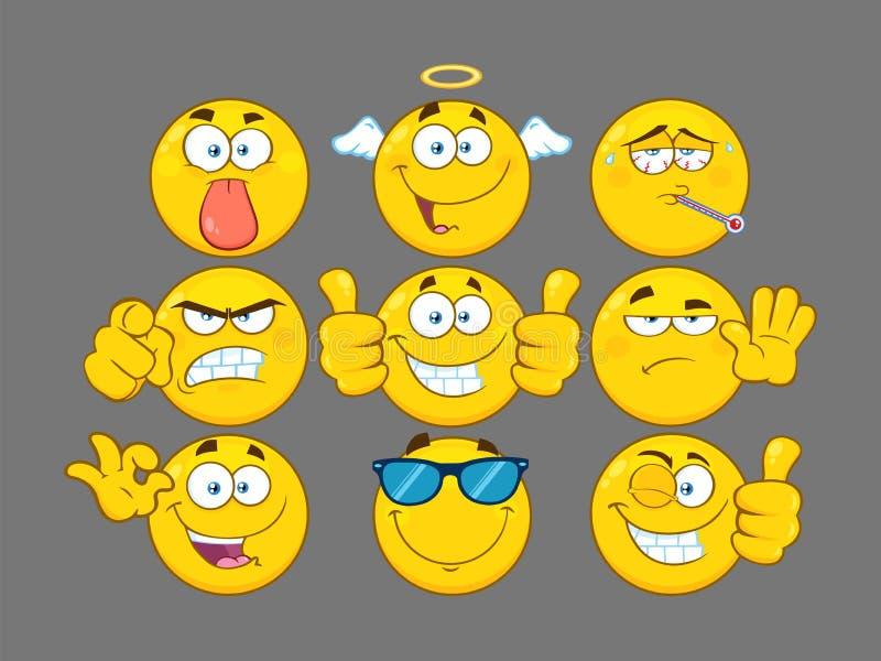 Śmieszna Żółta kreskówka Emoji Stawia czoło seria charakteru - set 3 Kolekcja ilustracja wektor