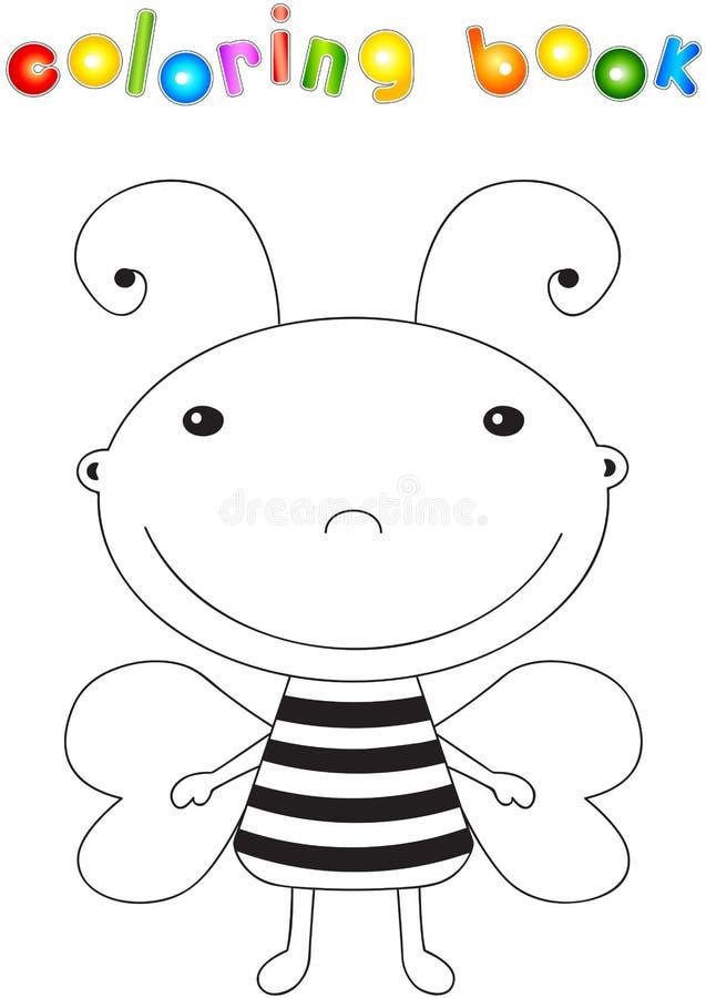Śmieszna śliczna kreskówki pszczoła Edukacyjna kolorystyki książka royalty ilustracja