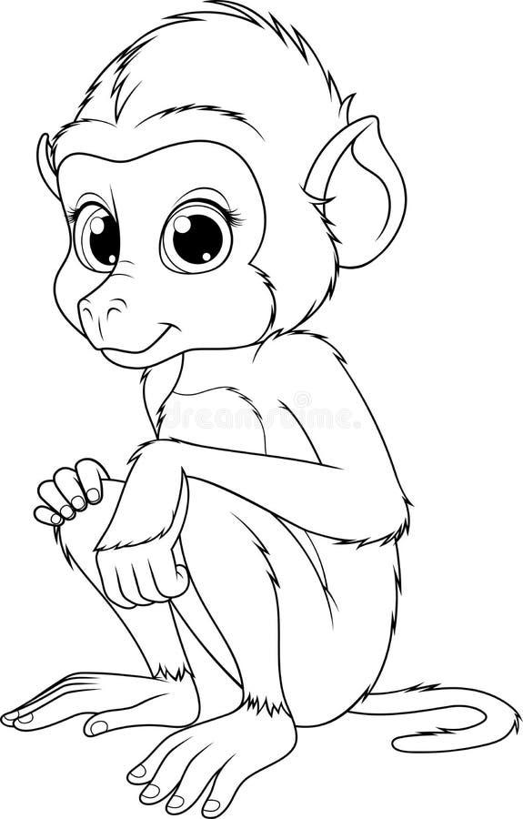 Śmieszna śliczna małpa ilustracji