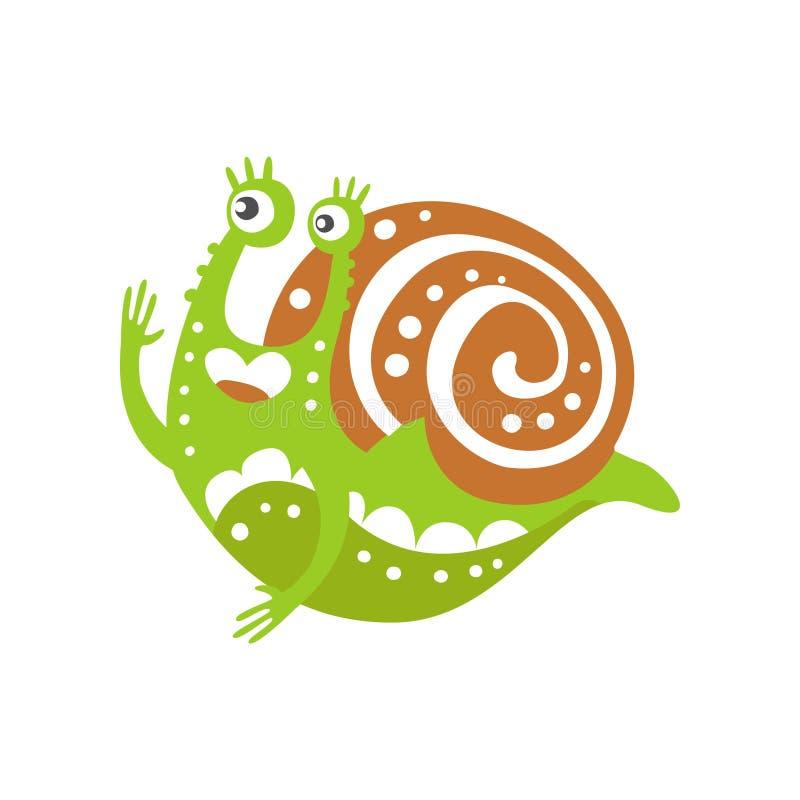 Śmieszna ślimaczka charakteru dźwigania ręka, śliczna zielona ręka rysująca mollusk wektorowa ilustracja royalty ilustracja