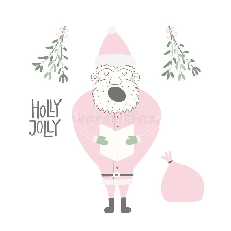 Śmieszna Święty Mikołaj kartka bożonarodzeniowa ilustracji