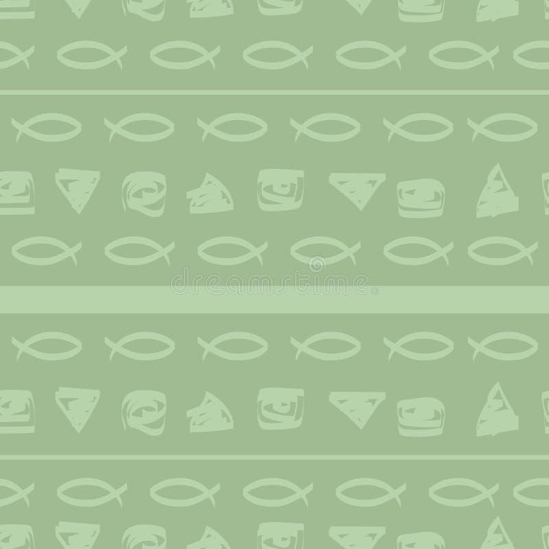 Śmieszna światło ryba oblicza, linie, lampasy na zielonym tle ilustracja wektor