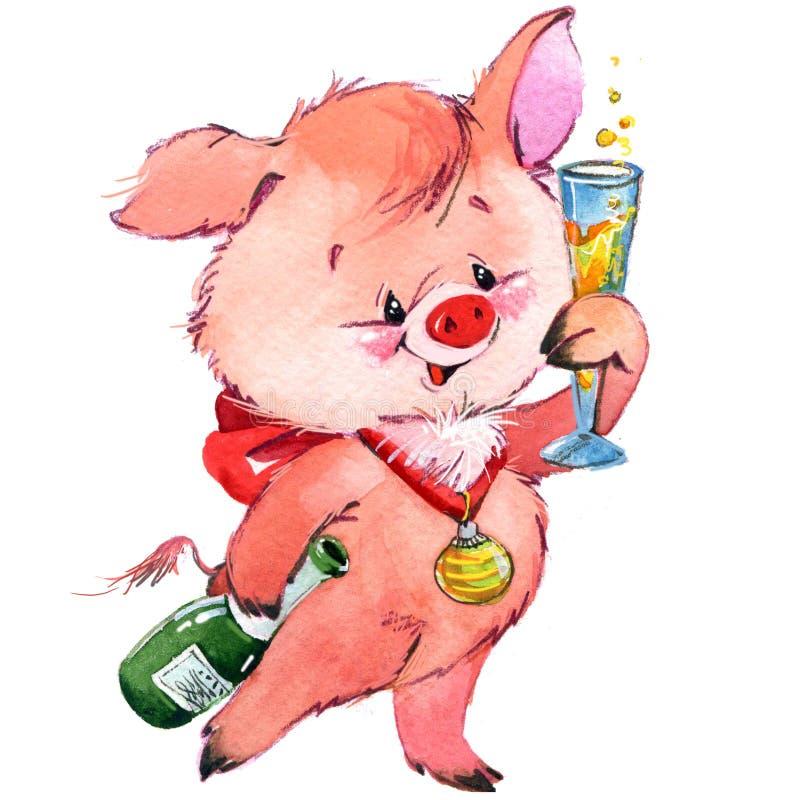 Śmieszna świnia i przyjęcie ilustracji