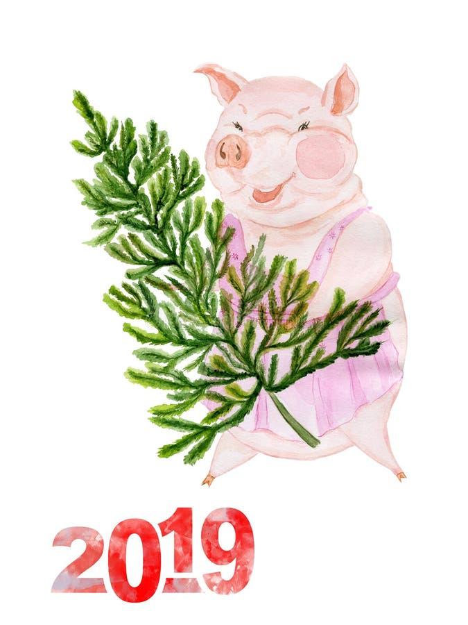 Śmieszna świnia niesie choinki 2019 jest rokiem kolor żółty ziemi świnia przeciw Chińskiemu horoskopowi adobe korekcj wysokiego o royalty ilustracja