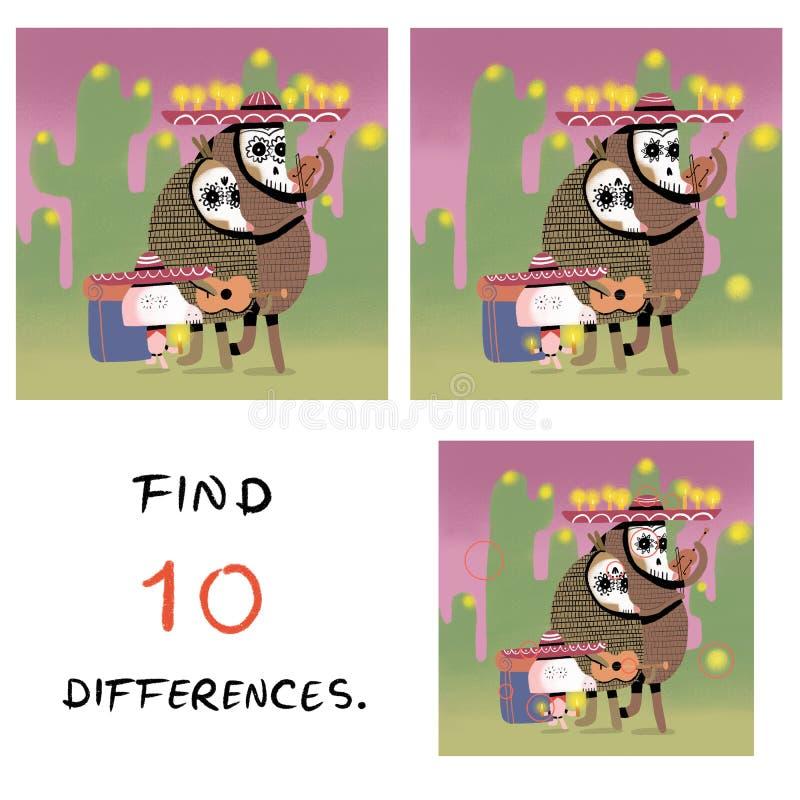 Śmieszna świnia z pancernik ilustracją 10 różnic znalezisko ilustracja wektor