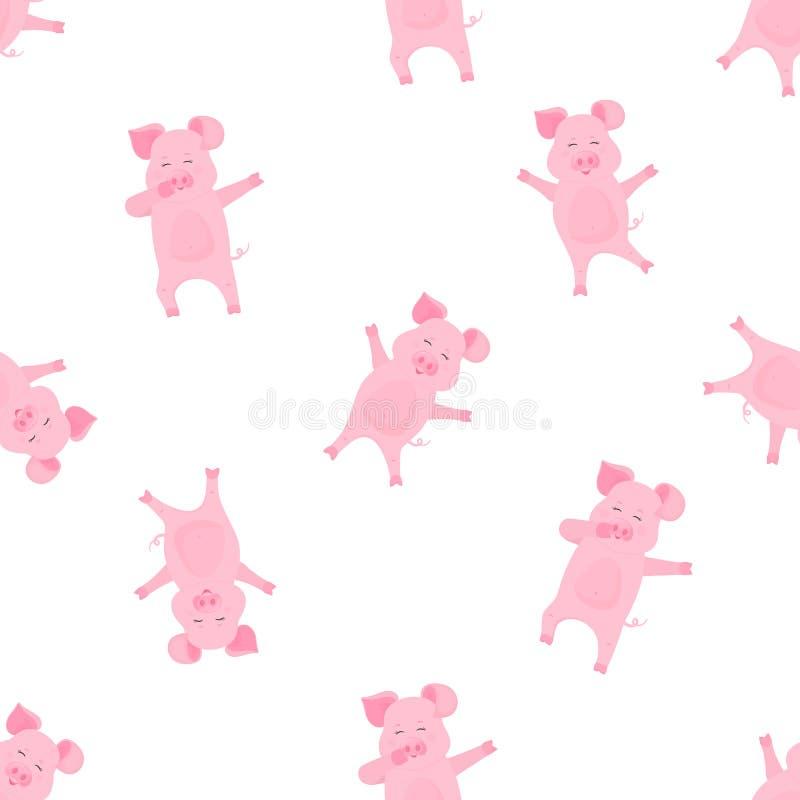 Śmieszna świniowata dabbing postać z kreskówki Dancingowy prosiątko Śliczny prosiaczek zabawę Bezszwowy wzór dla pepiniery, dziec ilustracja wektor