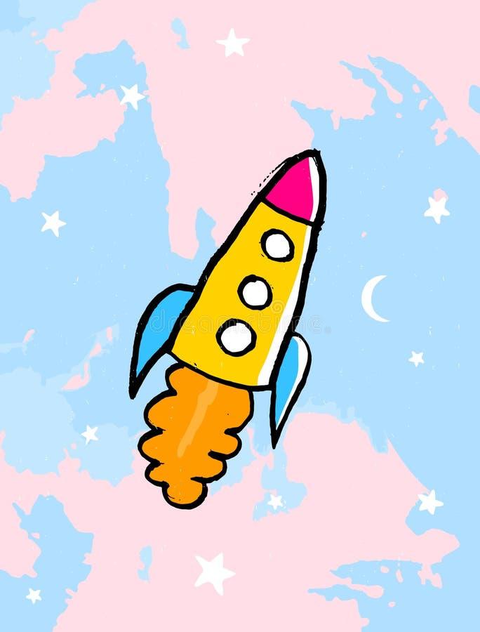 Śmieszna Żółta statku kosmicznego wektoru ilustracja Statku kosmicznego latanie Przez niebieskie niebo z menchiami Chmurnieje, bi ilustracji