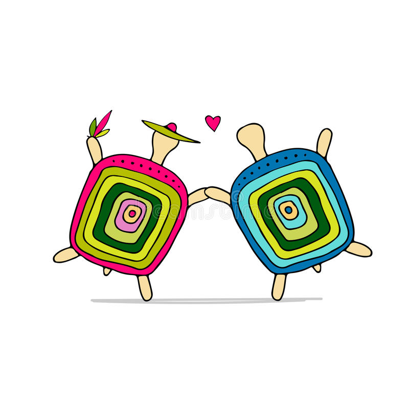 Śmieszna żółw para, nakreślenie dla twój projekta ilustracja wektor