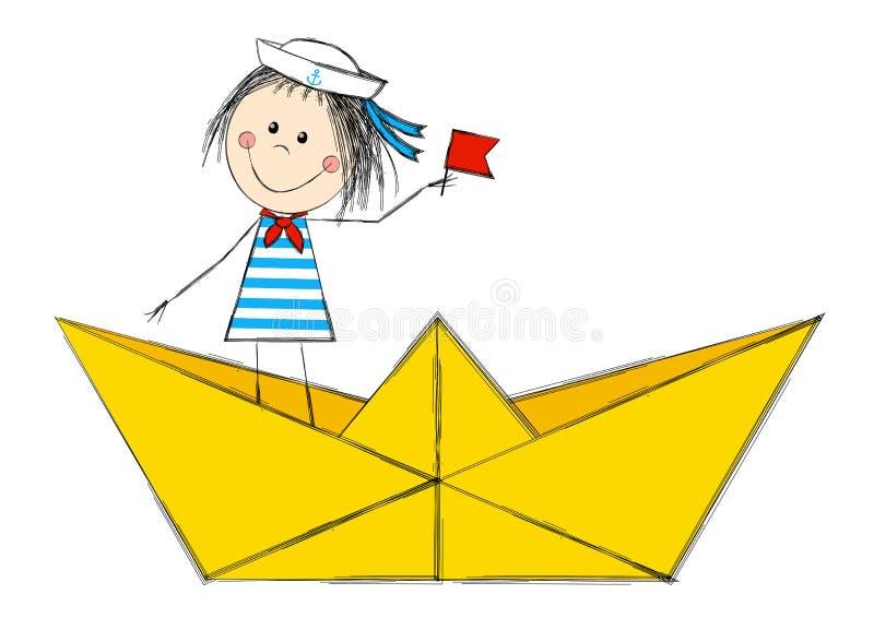 Śmieszna żeglarz dziewczyna ilustracja wektor