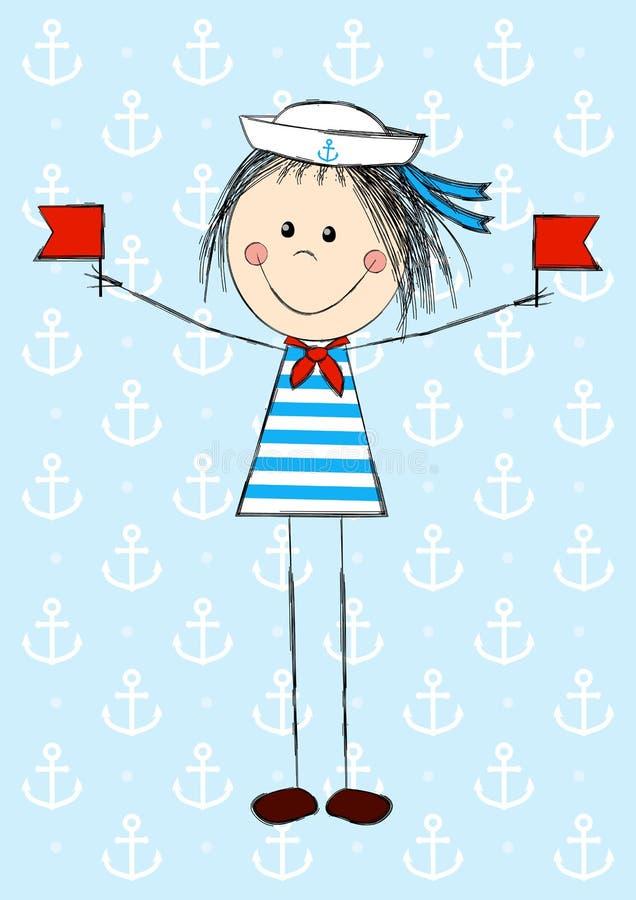 Śmieszna żeglarz dziewczyna ilustracji