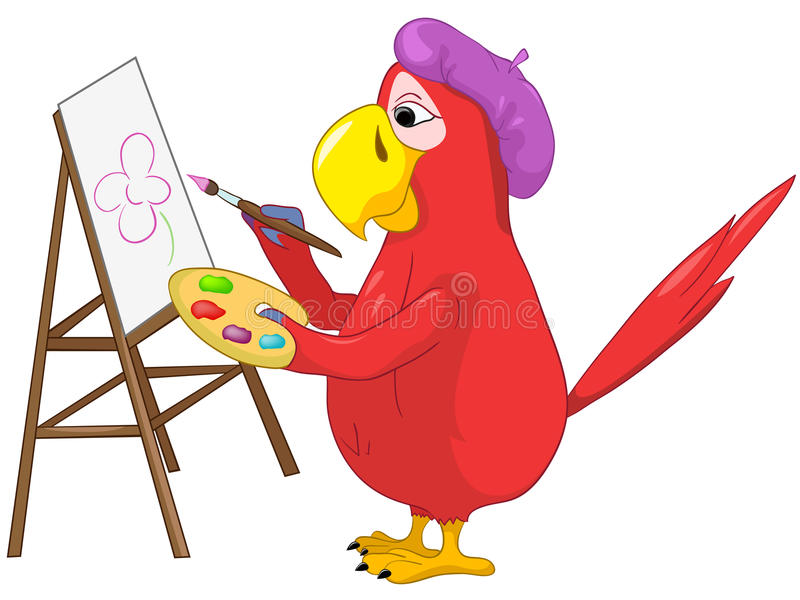 śmieszna artysta papuga royalty ilustracja
