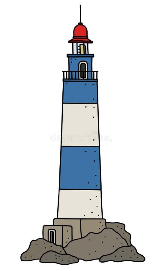 Śmieszna błękitna i biała kamienna latarnia morska royalty ilustracja
