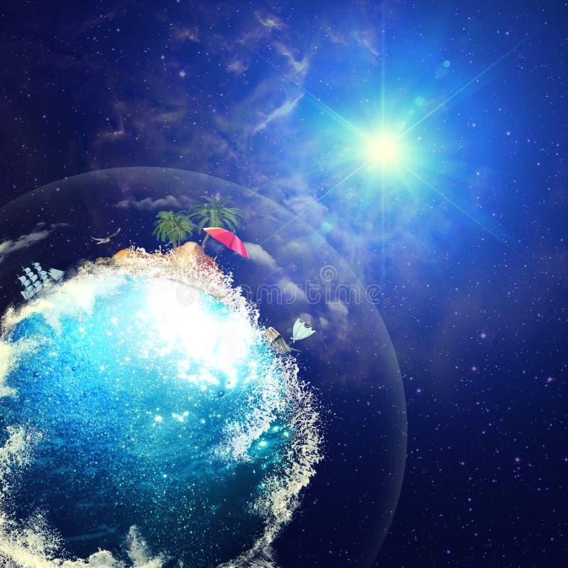 Śmieszna Błękitna planeta przeciw astronautycznym tło zdjęcie stock