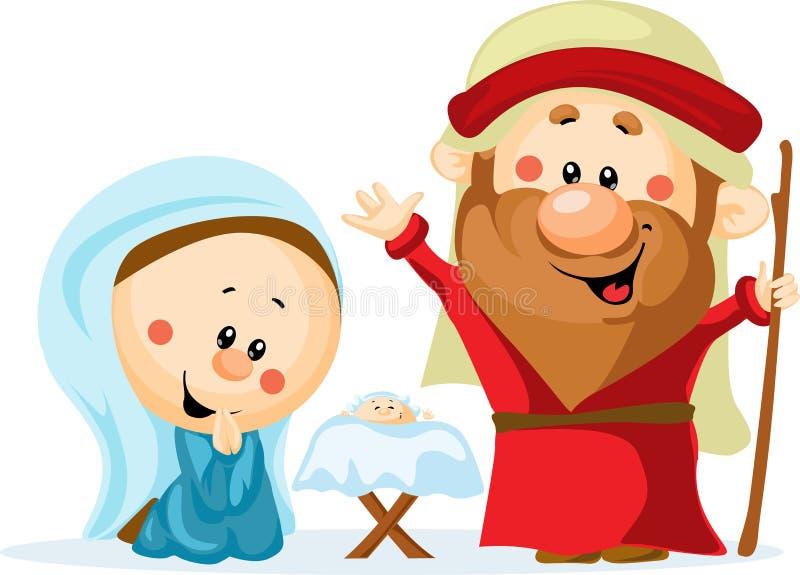 Śmieszna Bożenarodzeniowa narodzenie jezusa scena ilustracja wektor