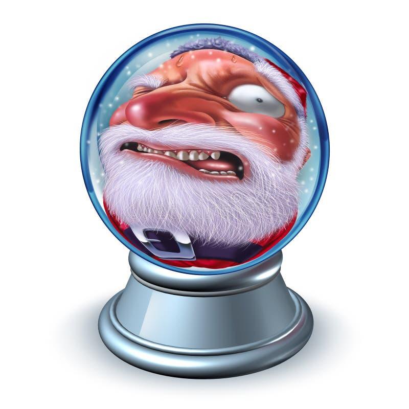 Śmieszna Bożenarodzeniowa Santa śniegu kula ziemska ilustracja wektor