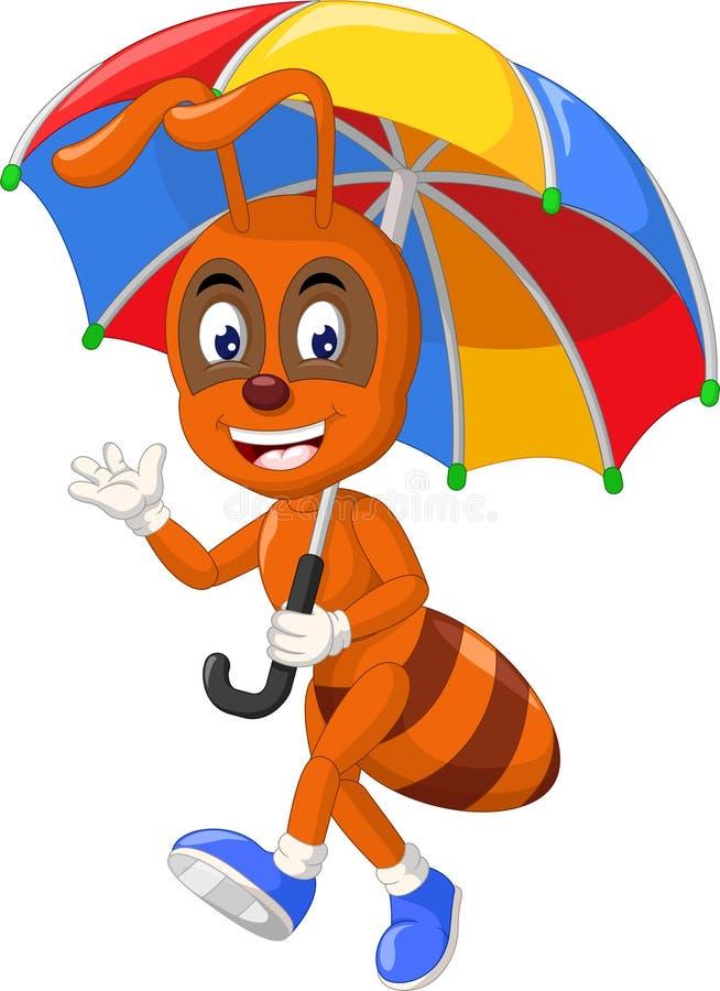 Śmieszna Brown mrówka Z Parasolową kreskówką ilustracja wektor
