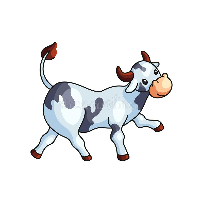 Śmieszna czarny i biały łaciasta krowa iść prosto odizolowywający ilustracja wektor
