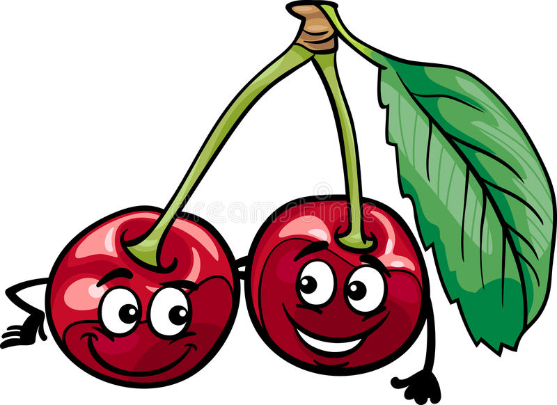 Śmieszna czereśniowa owoc kreskówki ilustracja royalty ilustracja
