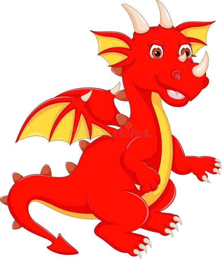 Śmieszna czerwona smok kreskówka pozuje z uśmiechem ilustracji