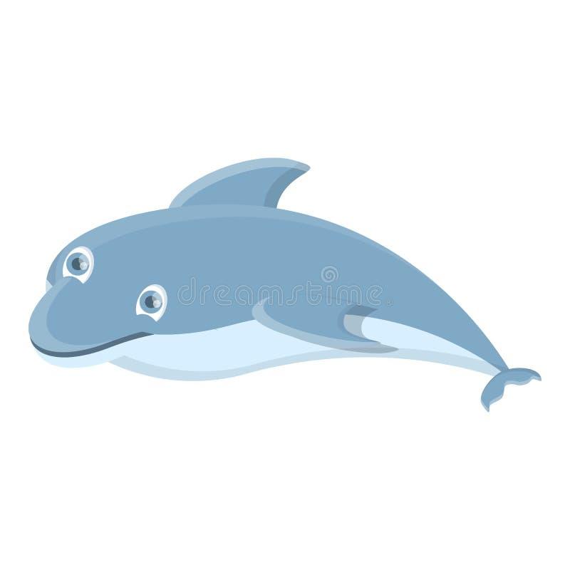 Śmieszna delfin ikona, kreskówka styl ilustracji