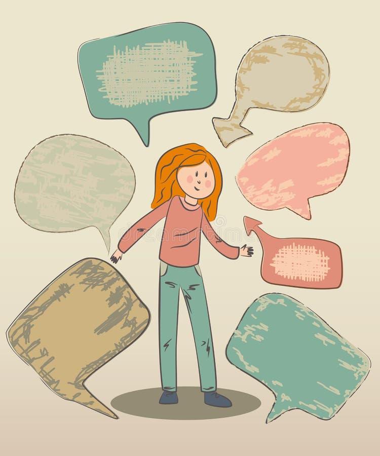 Śmieszna doodle dziewczyna z mowa bąblami zdjęcia royalty free