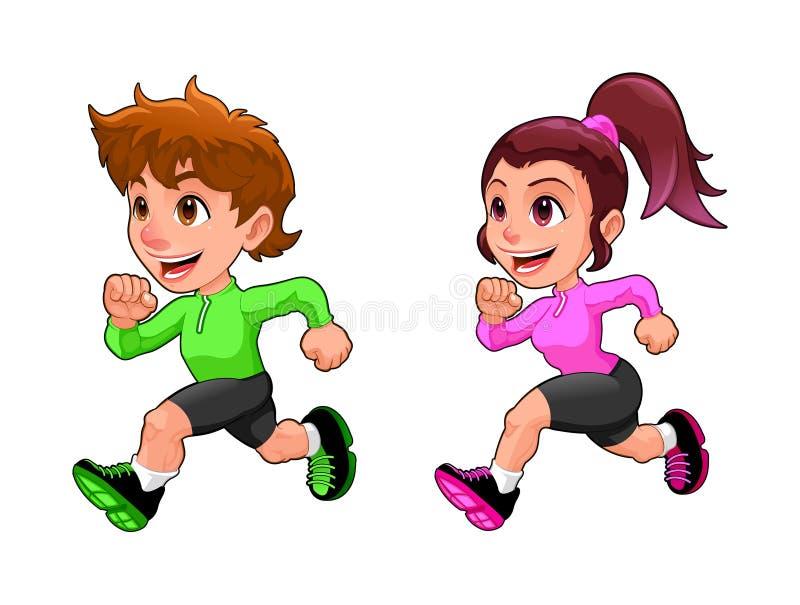 Śmieszna działająca chłopiec i dziewczyna ilustracji