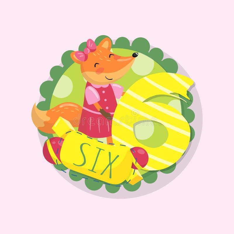 Śmieszna dziecko edukaci karta Kreskówka lisa liczba i charakter 6 sześć Kolorowy round emblemat Płaski wektorowy projekt dla ilustracji