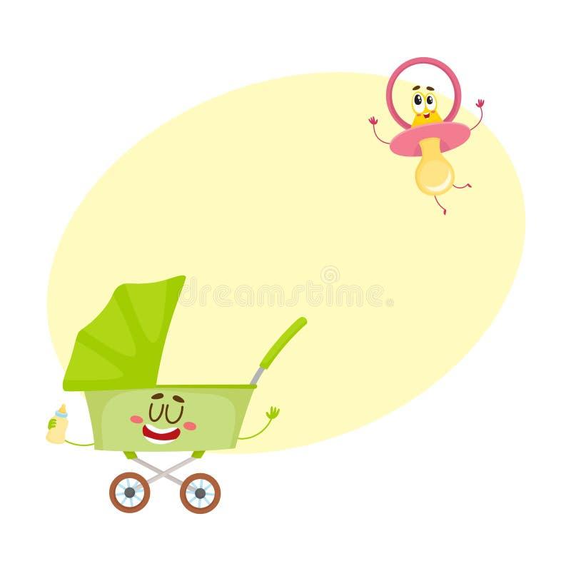 Śmieszna dziecko fura, powozik i atrapa, pacyfikatoru charakter, nowonarodzeni akcesoria ilustracji
